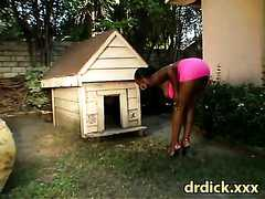 slutty ebony gets a kinky fuck outdoors